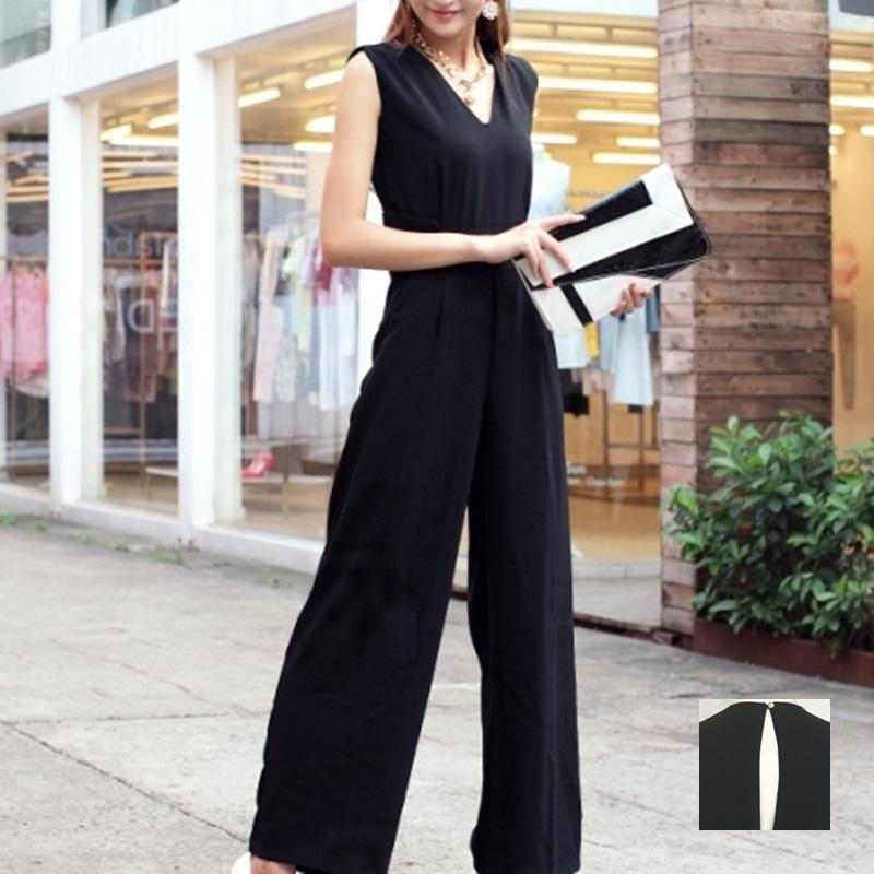 韓国 ファッション オールインワン サロペット 春 夏 パーティー ブライダル PTX1552  ノースリーブ バックスリット ハイウエスト ワイドパンツ 二次会 セレブ きれいめの写真1枚目