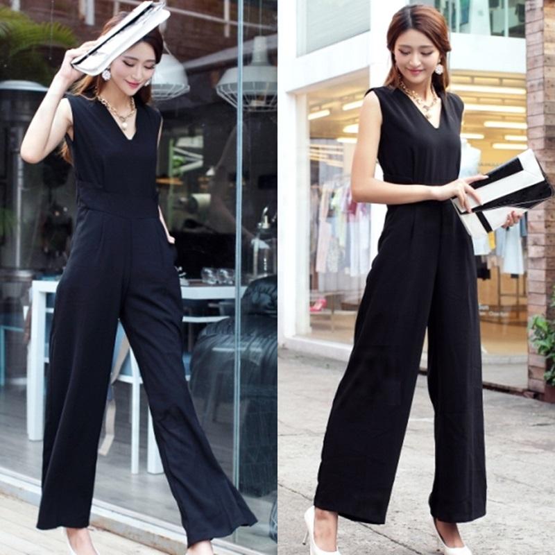 韓国 ファッション オールインワン サロペット 春 夏 パーティー ブライダル PTX1552  ノースリーブ バックスリット ハイウエスト ワイドパンツ 二次会 セレブ きれいめの写真2枚目