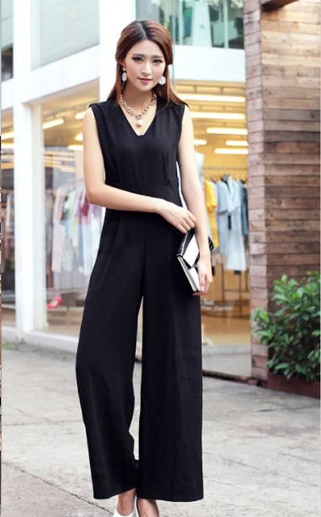韓国 ファッション オールインワン サロペット 春 夏 パーティー ブライダル PTX1552  ノースリーブ バックスリット ハイウエスト ワイドパンツ 二次会 セレブ きれいめの写真7枚目