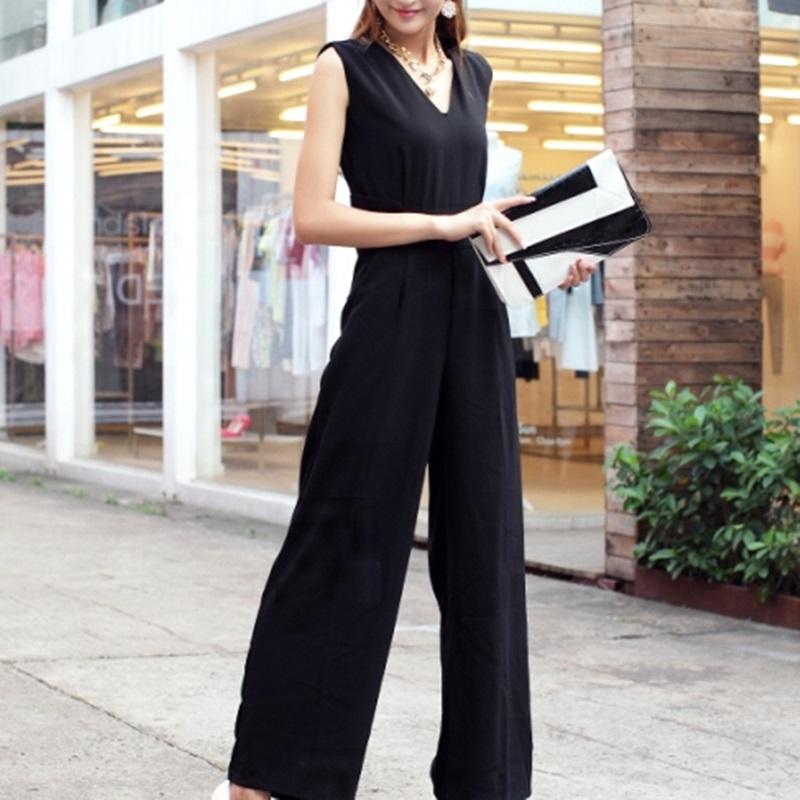 韓国 ファッション オールインワン サロペット 春 夏 パーティー ブライダル PTX1552  ノースリーブ バックスリット ハイウエスト ワイドパンツ 二次会 セレブ きれいめの写真8枚目