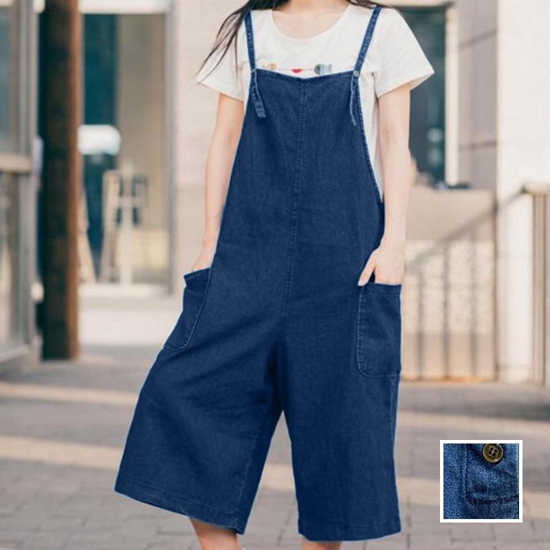 韓国 ファッション オールインワン オーバーオール 春 夏 カジュアル PTX2979  ガウチョパンツ ミモレ丈 デニム 系 ボーイッシュ オルチャン シンプル 定番 セレカジの写真1枚目