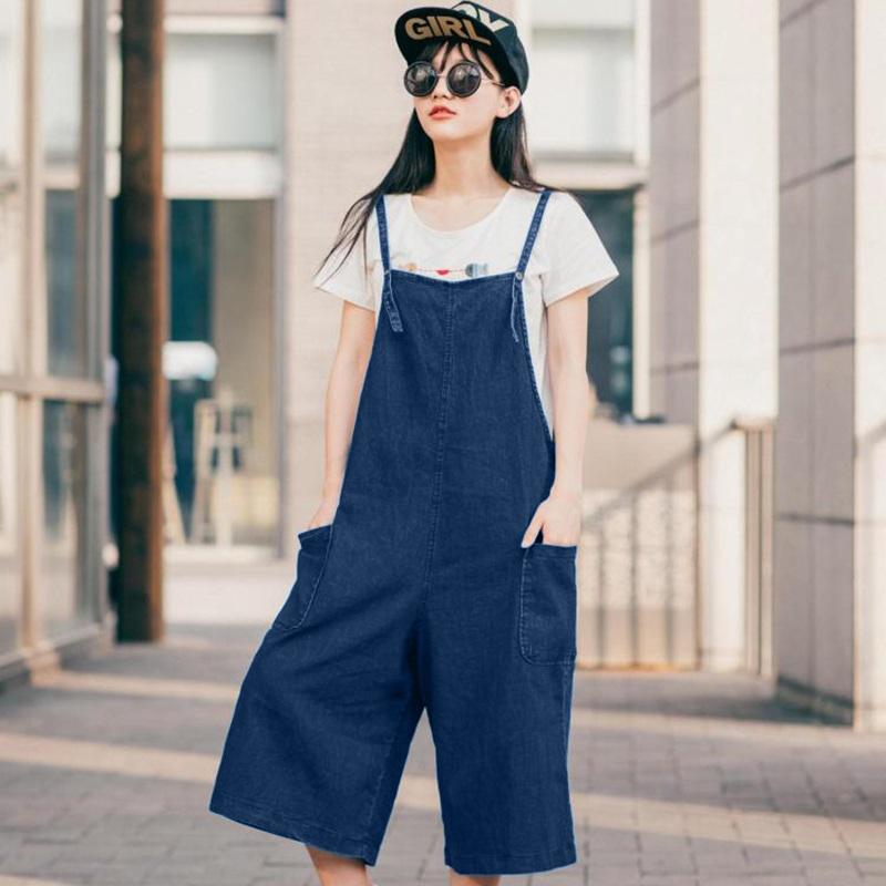 韓国 ファッション オールインワン オーバーオール 春 夏 カジュアル PTX2979  ガウチョパンツ ミモレ丈 デニム 系 ボーイッシュ オルチャン シンプル 定番 セレカジの写真2枚目