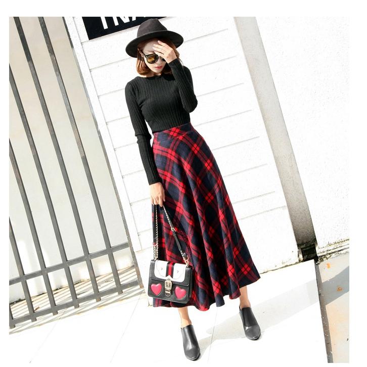 【即納】韓国 ファッション スカート ボトムス 秋 冬 カジュアル SPTX4241  タータンチェック きれいめ ロング丈 ウエストゴム フレア オルチャン シンプル 定番 セレカジの写真10枚目