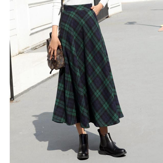 【即納】韓国 ファッション スカート ボトムス 秋 冬 カジュアル SPTX4241  タータンチェック きれいめ ロング丈 ウエストゴム フレア オルチャン シンプル 定番 セレカジの写真14枚目