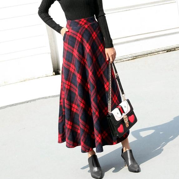 【即納】韓国 ファッション スカート ボトムス 秋 冬 カジュアル SPTX4241  タータンチェック きれいめ ロング丈 ウエストゴム フレア オルチャン シンプル 定番 セレカジの写真15枚目