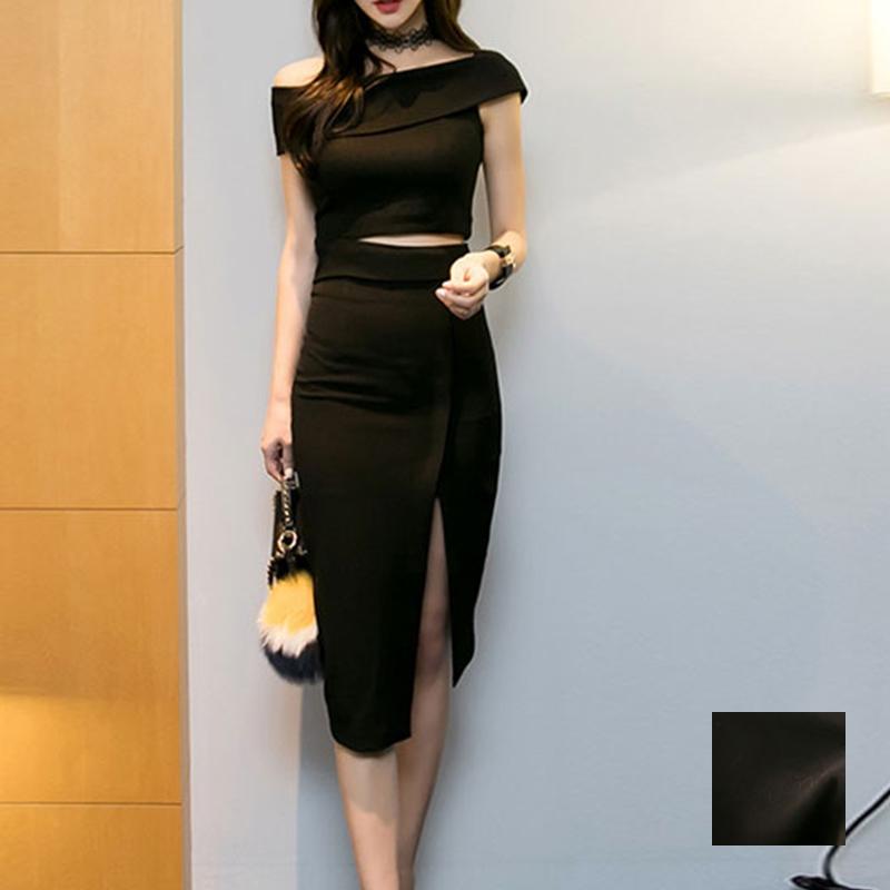 韓国 ファッション パーティードレス 結婚式 お呼ばれドレス セットアップ 夏 春 秋 パーティー ブライダル PTX5085  アシンメトリー ワンショルダー ミディ丈 二次会 セレブ きれいめの写真1枚目