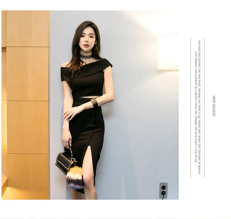 韓国 ファッション パーティードレス 結婚式 お呼ばれドレス セットアップ 夏 春 秋 パーティー ブライダル PTX5085  アシンメトリー ワンショルダー ミディ丈 二次会 セレブ きれいめの写真5枚目