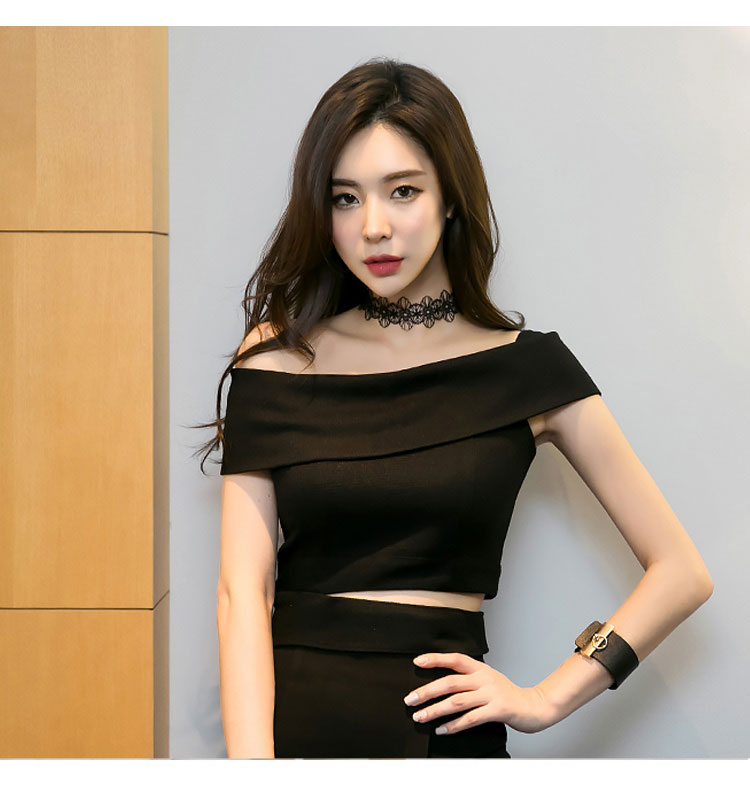 韓国 ファッション パーティードレス 結婚式 お呼ばれドレス セットアップ 夏 春 秋 パーティー ブライダル PTX5085  アシンメトリー ワンショルダー ミディ丈 二次会 セレブ きれいめの写真6枚目