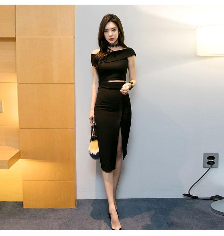 韓国 ファッション パーティードレス 結婚式 お呼ばれドレス セットアップ 夏 春 秋 パーティー ブライダル PTX5085  アシンメトリー ワンショルダー ミディ丈 二次会 セレブ きれいめの写真7枚目