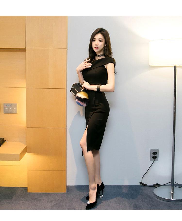 韓国 ファッション パーティードレス 結婚式 お呼ばれドレス セットアップ 夏 春 秋 パーティー ブライダル PTX5085  アシンメトリー ワンショルダー ミディ丈 二次会 セレブ きれいめの写真8枚目