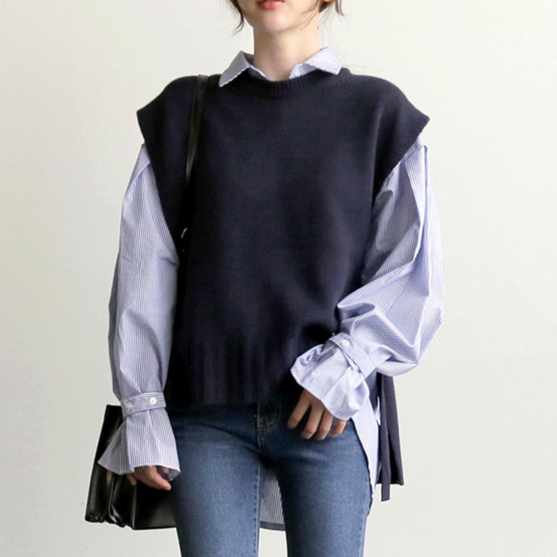 【即納】韓国 ファッション トップス ニット セーター 秋冬春 カジュアル SPTX5258  コーデに可愛げを呼ぶ。リボンディテールのニットベスト オルチャン シンプル 定番 セレカジの写真1枚目