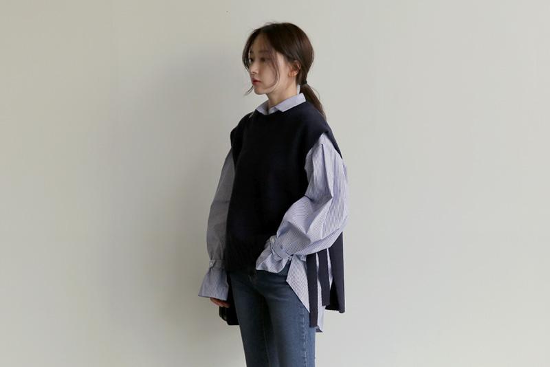 【即納】韓国 ファッション トップス ニット セーター 秋冬春 カジュアル SPTX5258  コーデに可愛げを呼ぶ。リボンディテールのニットベスト オルチャン シンプル 定番 セレカジの写真2枚目