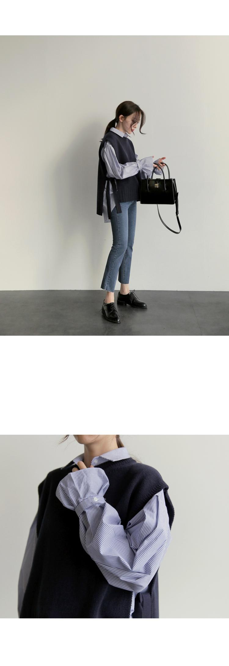 【即納】韓国 ファッション トップス ニット セーター 秋冬春 カジュアル SPTX5258  コーデに可愛げを呼ぶ。リボンディテールのニットベスト オルチャン シンプル 定番 セレカジの写真3枚目