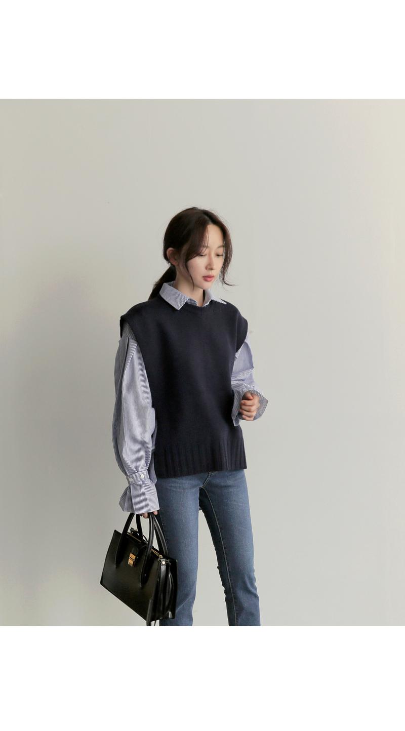 【即納】韓国 ファッション トップス ニット セーター 秋冬春 カジュアル SPTX5258  コーデに可愛げを呼ぶ。リボンディテールのニットベスト オルチャン シンプル 定番 セレカジの写真4枚目