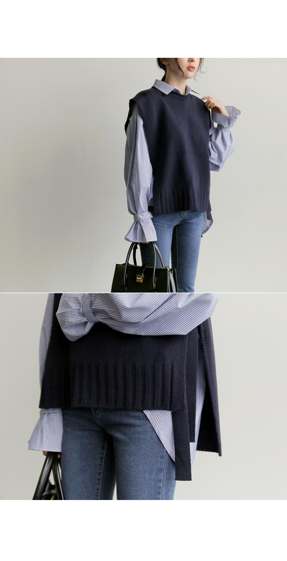 【即納】韓国 ファッション トップス ニット セーター 秋冬春 カジュアル SPTX5258  コーデに可愛げを呼ぶ。リボンディテールのニットベスト オルチャン シンプル 定番 セレカジの写真5枚目