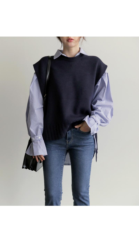 【即納】韓国 ファッション トップス ニット セーター 秋冬春 カジュアル SPTX5258  コーデに可愛げを呼ぶ。リボンディテールのニットベスト オルチャン シンプル 定番 セレカジの写真9枚目