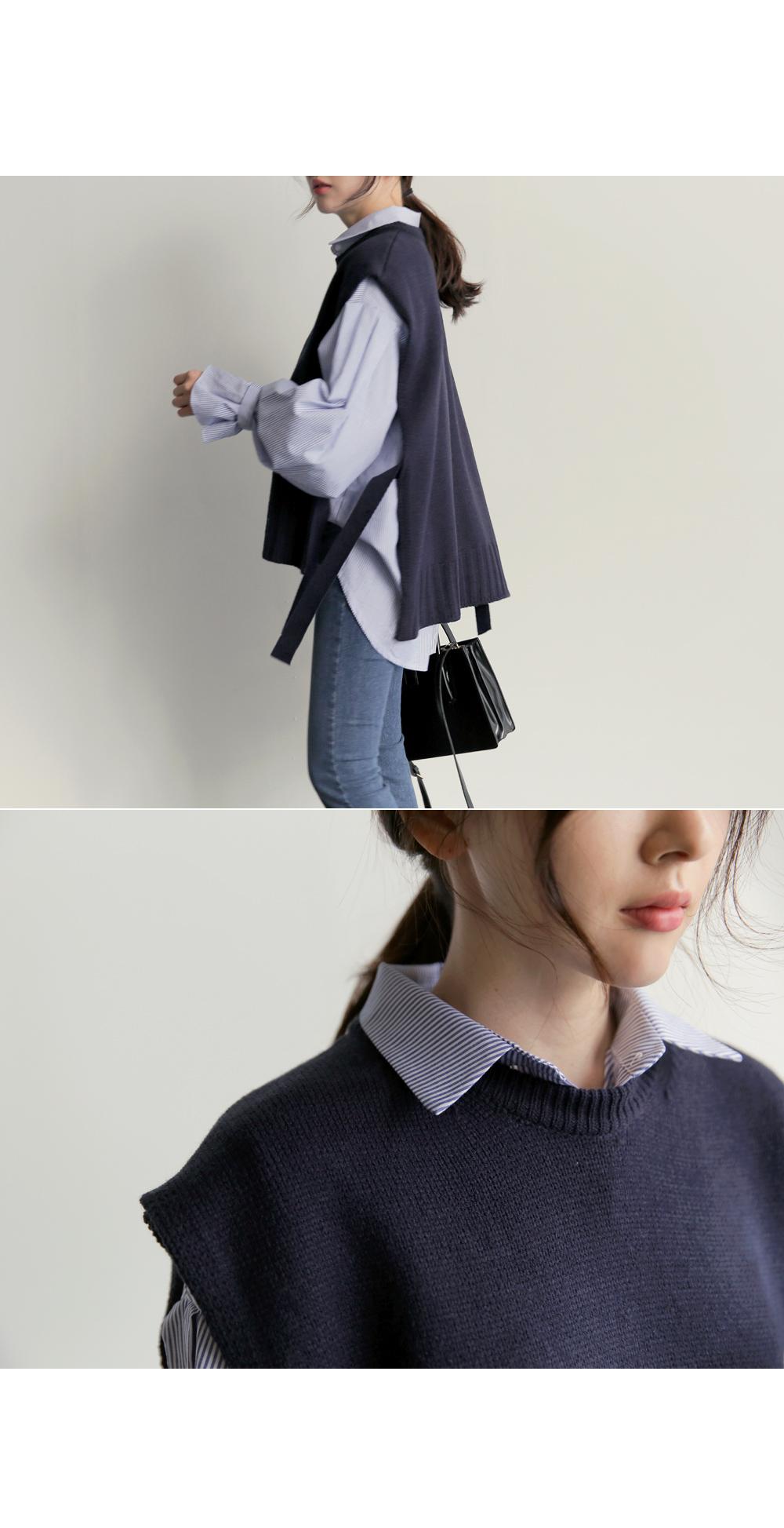 【即納】韓国 ファッション トップス ニット セーター 秋冬春 カジュアル SPTX5258  コーデに可愛げを呼ぶ。リボンディテールのニットベスト オルチャン シンプル 定番 セレカジの写真10枚目