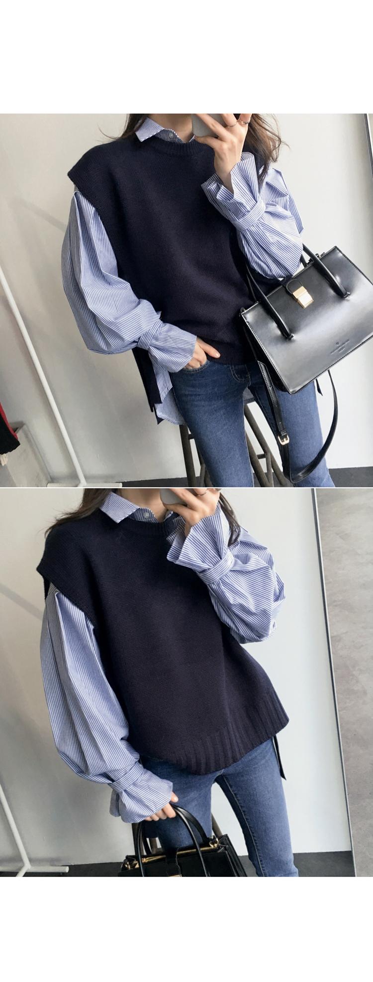 【即納】韓国 ファッション トップス ニット セーター 秋冬春 カジュアル SPTX5258  コーデに可愛げを呼ぶ。リボンディテールのニットベスト オルチャン シンプル 定番 セレカジの写真11枚目