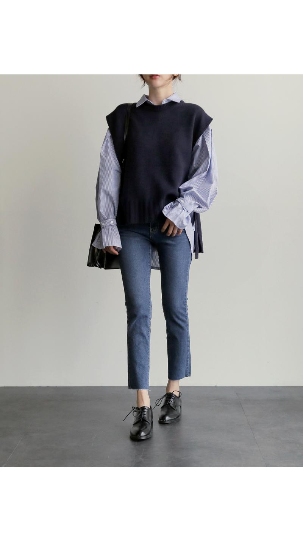 【即納】韓国 ファッション トップス ニット セーター 秋冬春 カジュアル SPTX5258  コーデに可愛げを呼ぶ。リボンディテールのニットベスト オルチャン シンプル 定番 セレカジの写真12枚目