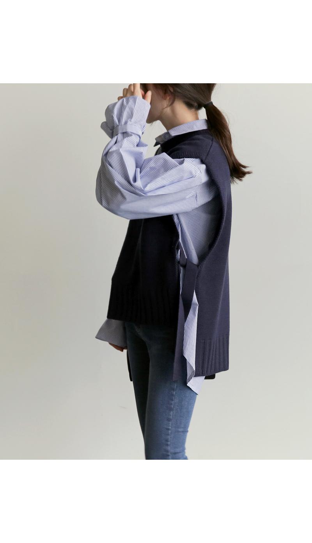 【即納】韓国 ファッション トップス ニット セーター 秋冬春 カジュアル SPTX5258  コーデに可愛げを呼ぶ。リボンディテールのニットベスト オルチャン シンプル 定番 セレカジの写真13枚目