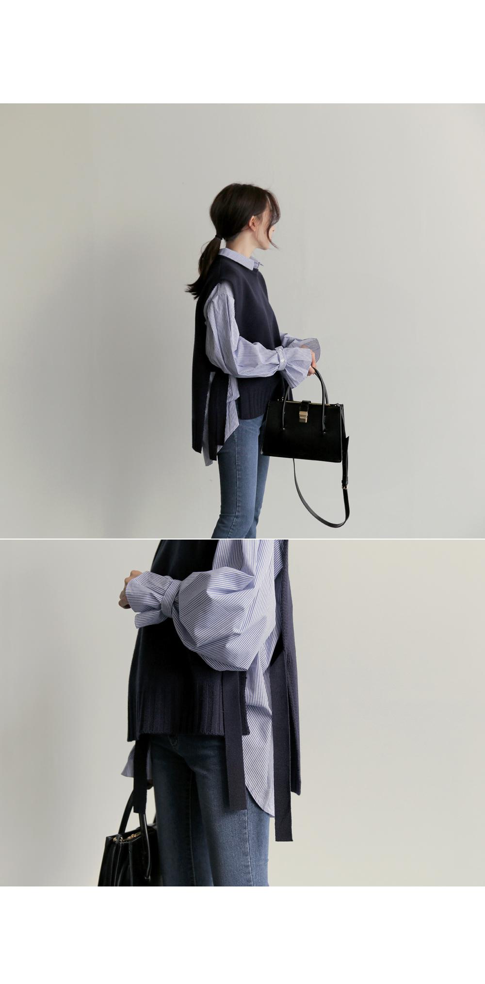 【即納】韓国 ファッション トップス ニット セーター 秋冬春 カジュアル SPTX5258  コーデに可愛げを呼ぶ。リボンディテールのニットベスト オルチャン シンプル 定番 セレカジの写真14枚目