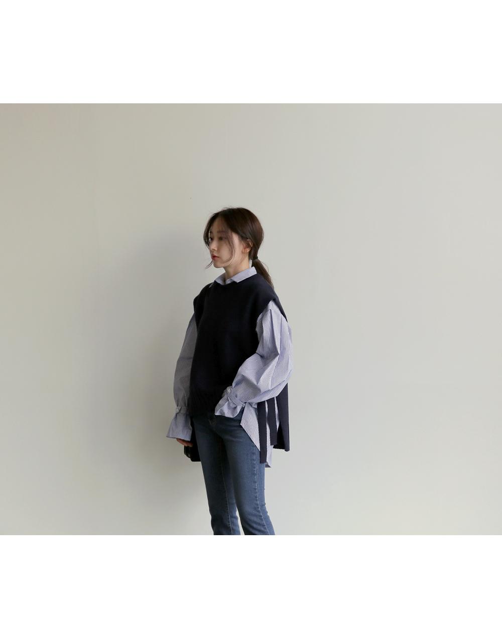 【即納】韓国 ファッション トップス ニット セーター 秋冬春 カジュアル SPTX5258  コーデに可愛げを呼ぶ。リボンディテールのニットベスト オルチャン シンプル 定番 セレカジの写真16枚目
