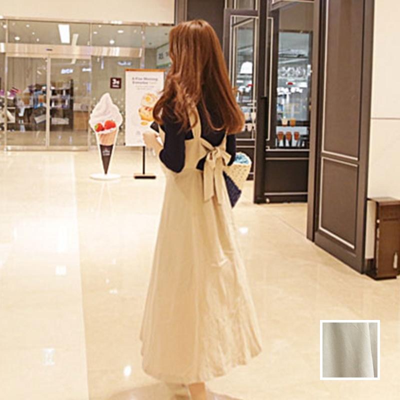 【即納】韓国 ファッション ワンピース 春 夏 秋 カジュアル SPTX5312  サロペットワンピ バックリボン ミモレ丈 ロング オルチャン シンプル 定番 セレカジの写真1枚目