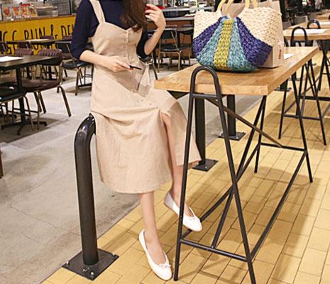 【即納】韓国 ファッション ワンピース 春 夏 秋 カジュアル SPTX5312  サロペットワンピ バックリボン ミモレ丈 ロング オルチャン シンプル 定番 セレカジの写真5枚目