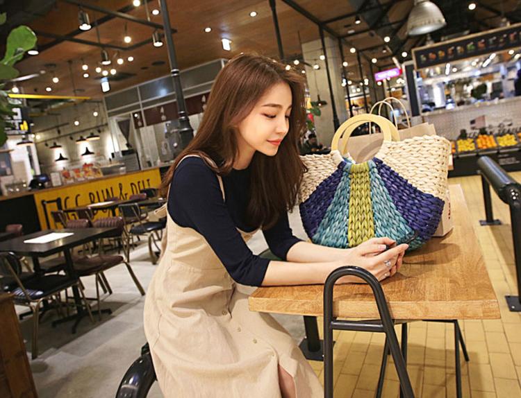 【即納】韓国 ファッション ワンピース 春 夏 秋 カジュアル SPTX5312  サロペットワンピ バックリボン ミモレ丈 ロング オルチャン シンプル 定番 セレカジの写真7枚目