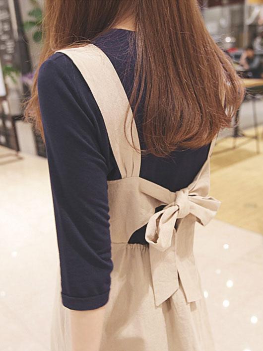 【即納】韓国 ファッション ワンピース 春 夏 秋 カジュアル SPTX5312  サロペットワンピ バックリボン ミモレ丈 ロング オルチャン シンプル 定番 セレカジの写真9枚目