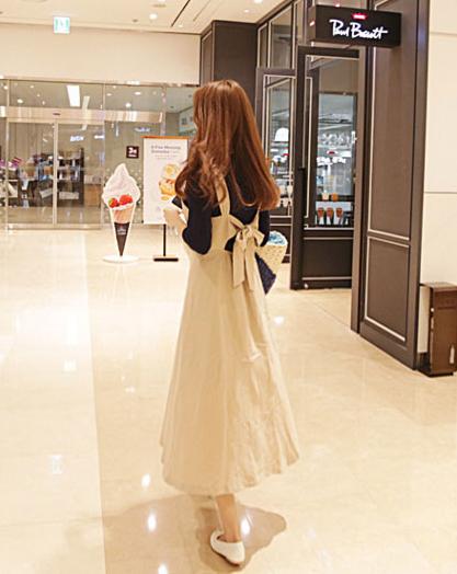 【即納】韓国 ファッション ワンピース 春 夏 秋 カジュアル SPTX5312  サロペットワンピ バックリボン ミモレ丈 ロング オルチャン シンプル 定番 セレカジの写真11枚目