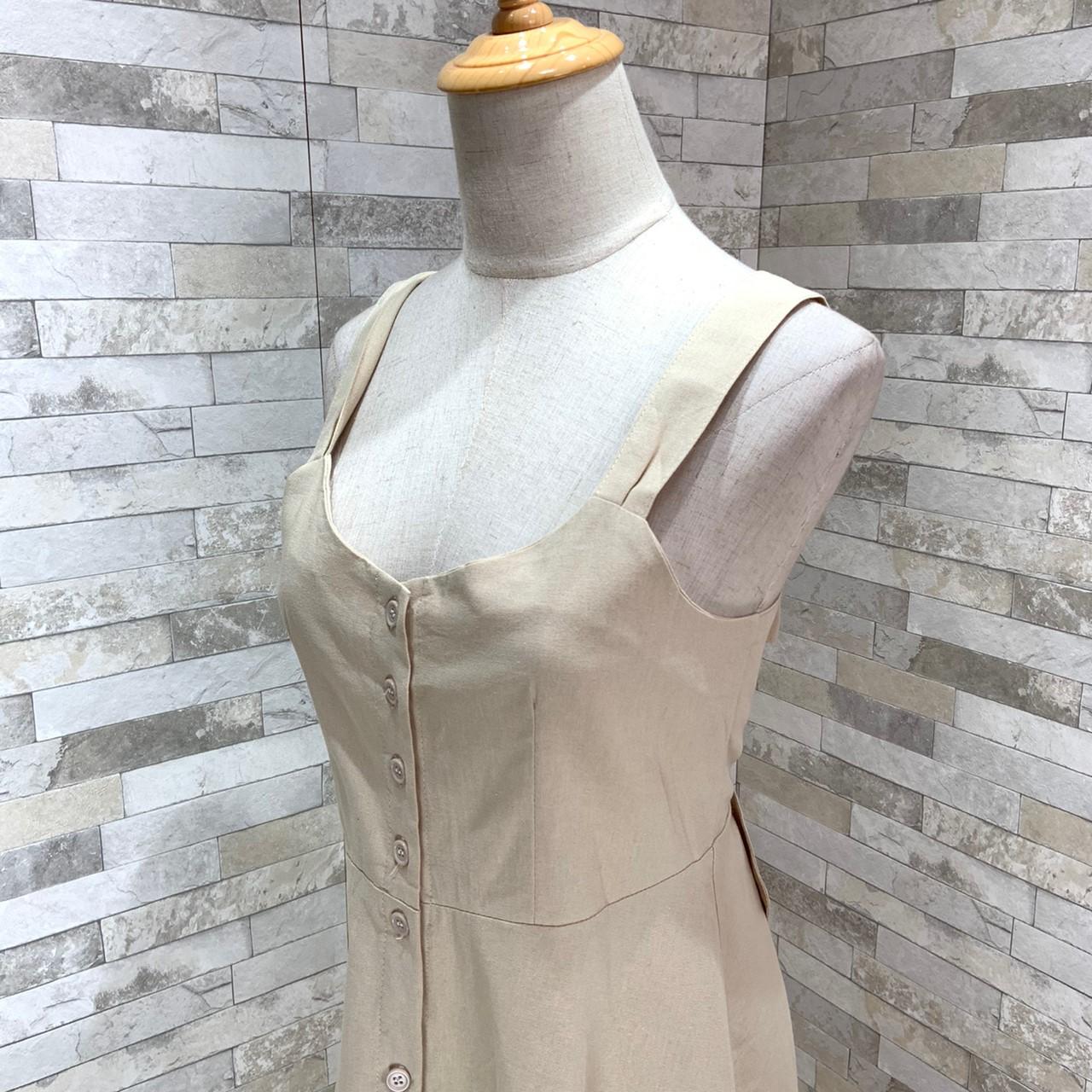 【即納】韓国 ファッション ワンピース 春 夏 秋 カジュアル SPTX5312  サロペットワンピ バックリボン ミモレ丈 ロング オルチャン シンプル 定番 セレカジの写真15枚目