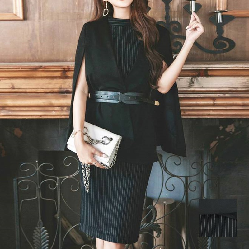 【即納】韓国 ファッション ワンピース パーティードレス ひざ丈 ミディアム 春 秋 冬 パーティー ブライダル SPTX5574 結婚式 お呼ばれ セット ポンチョ マント 二次会 セレブ きれいめの写真1枚目