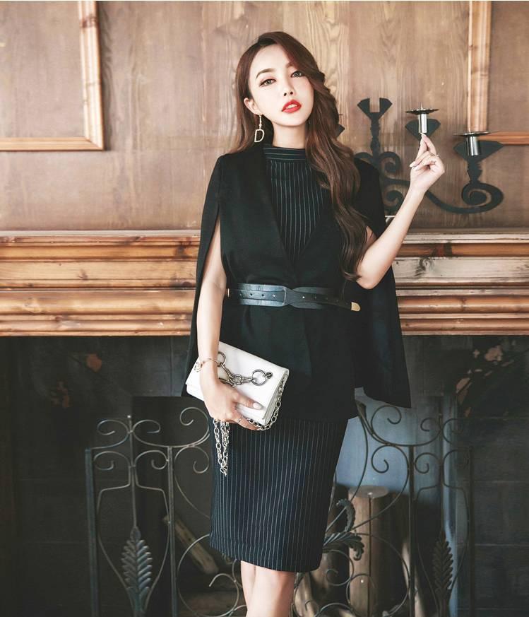 【即納】韓国 ファッション ワンピース パーティードレス ひざ丈 ミディアム 春 秋 冬 パーティー ブライダル SPTX5574 結婚式 お呼ばれ セット ポンチョ マント 二次会 セレブ きれいめの写真7枚目