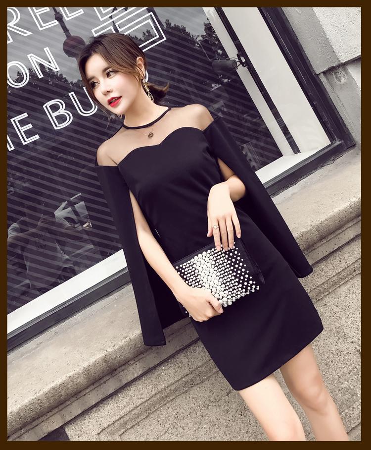 【即納】韓国 ファッション ワンピース パーティードレス ショート ミニ丈 秋 夏 春 パーティー ブライダル SPTX6887 結婚式 お呼ばれ 肩開き シースルー ボレロ 二次会 セレブ きれいめの写真6枚目
