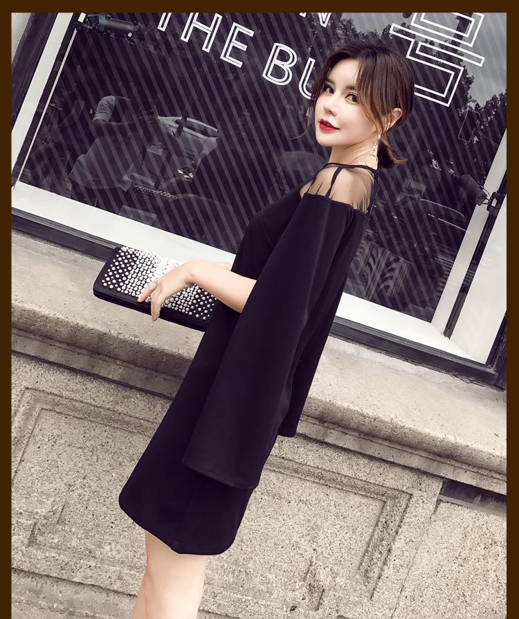 【即納】韓国 ファッション ワンピース パーティードレス ショート ミニ丈 秋 夏 春 パーティー ブライダル SPTX6887 結婚式 お呼ばれ 肩開き シースルー ボレロ 二次会 セレブ きれいめの写真8枚目