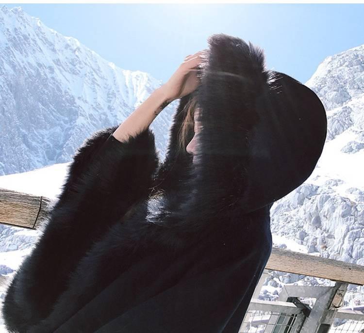 【即納】韓国 ファッション アウター ムートン ファーコート 秋 冬 カジュアル SPTX8010  Aライン ビッグファー エコファー もこもこ ショート オルチャン シンプル 定番 セレカジの写真8枚目