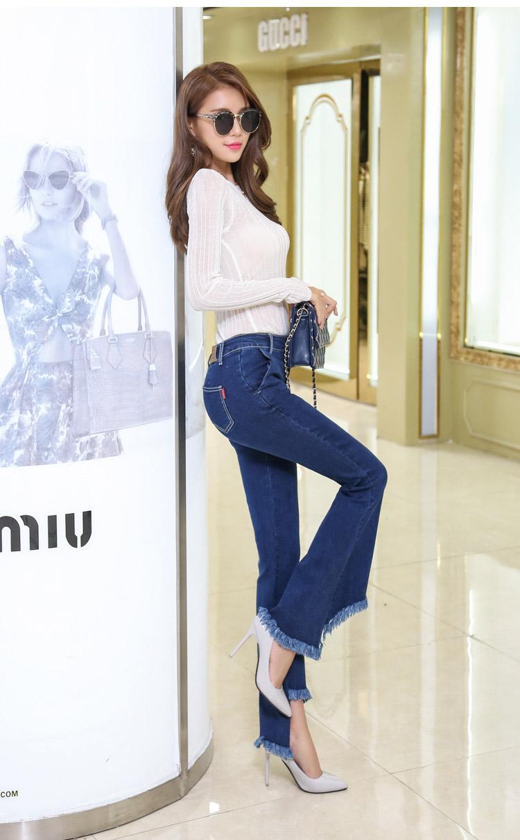 韓国 ファッション パンツ デニム ジーパン ボトムス 夏 春 カジュアル PTX8417  イレギュラーヘム ブーツカット ベルボトム ローライズ カットオフ  オルチャン シンプル 定番 セレカジの写真3枚目