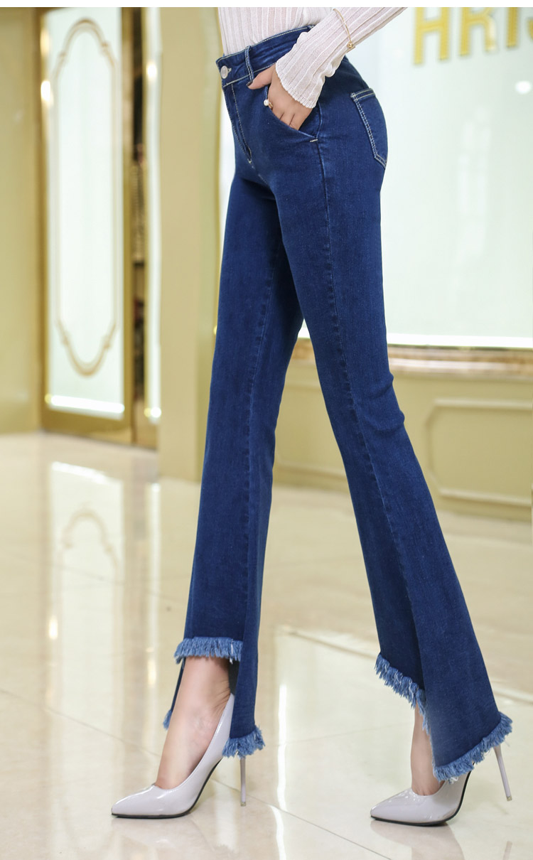 韓国 ファッション パンツ デニム ジーパン ボトムス 夏 春 カジュアル PTX8417  イレギュラーヘム ブーツカット ベルボトム ローライズ カットオフ  オルチャン シンプル 定番 セレカジの写真4枚目