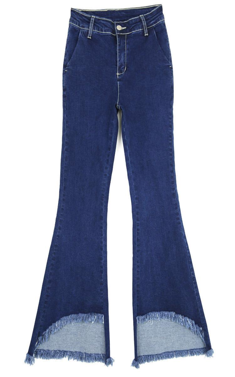 韓国 ファッション パンツ デニム ジーパン ボトムス 夏 春 カジュアル PTX8417  イレギュラーヘム ブーツカット ベルボトム ローライズ カットオフ  オルチャン シンプル 定番 セレカジの写真7枚目