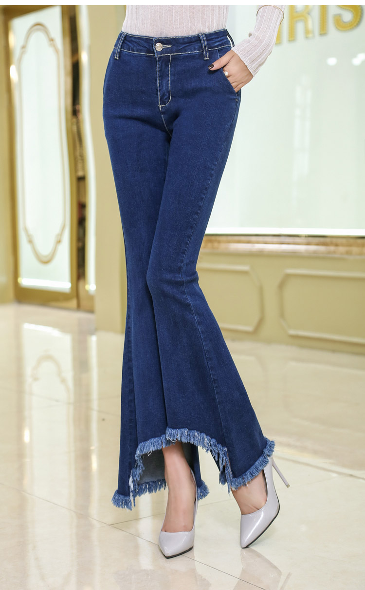 韓国 ファッション パンツ デニム ジーパン ボトムス 夏 春 カジュアル PTX8417  イレギュラーヘム ブーツカット ベルボトム ローライズ カットオフ  オルチャン シンプル 定番 セレカジの写真10枚目