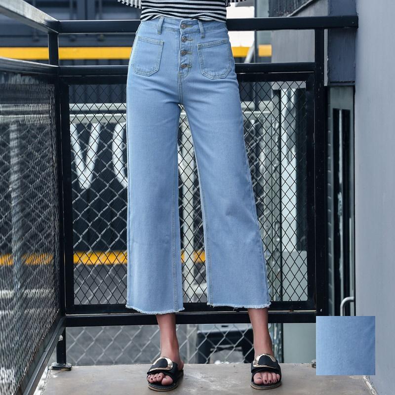 韓国 ファッション パンツ デニム ジーパン ボトムス 夏 春 カジュアル PTX8534  ハイライズ カットオフ ワイド ストレート クロップド アンクルパン オルチャン シンプル 定番 セレカジの写真1枚目