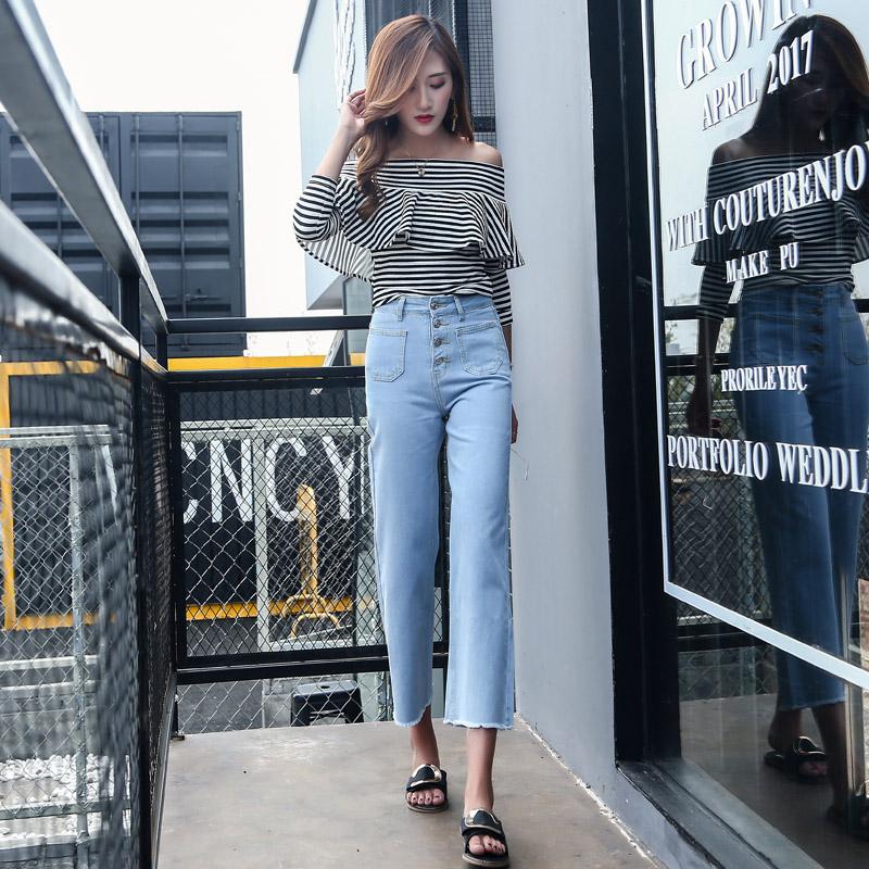 韓国 ファッション パンツ デニム ジーパン ボトムス 夏 春 カジュアル PTX8534  ハイライズ カットオフ ワイド ストレート クロップド アンクルパン オルチャン シンプル 定番 セレカジの写真2枚目