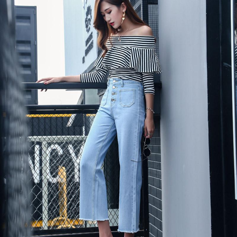 韓国 ファッション パンツ デニム ジーパン ボトムス 夏 春 カジュアル PTX8534  ハイライズ カットオフ ワイド ストレート クロップド アンクルパン オルチャン シンプル 定番 セレカジの写真3枚目