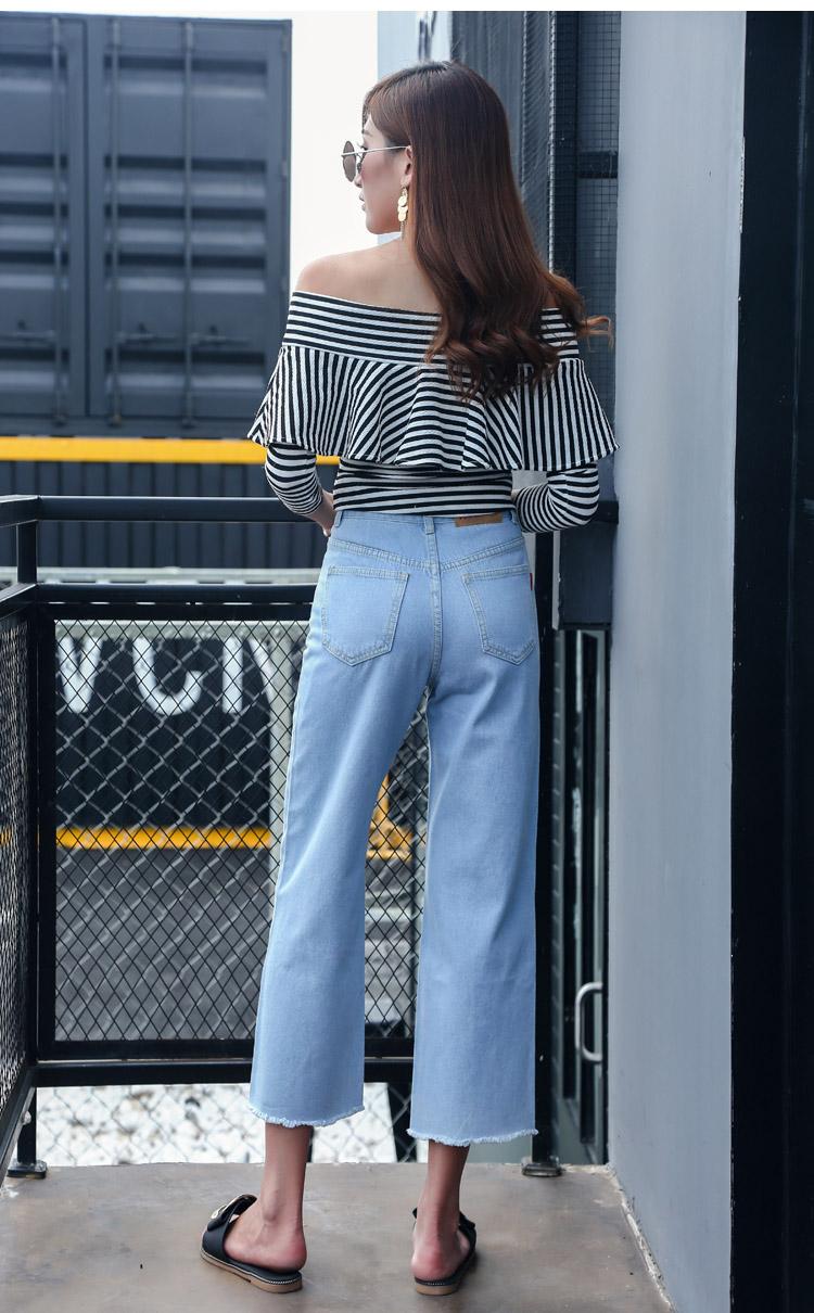 韓国 ファッション パンツ デニム ジーパン ボトムス 夏 春 カジュアル PTX8534  ハイライズ カットオフ ワイド ストレート クロップド アンクルパン オルチャン シンプル 定番 セレカジの写真4枚目