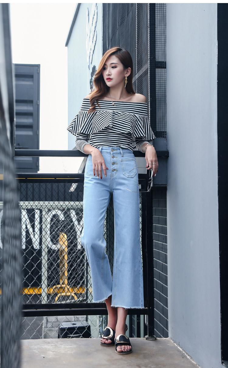 韓国 ファッション パンツ デニム ジーパン ボトムス 夏 春 カジュアル PTX8534  ハイライズ カットオフ ワイド ストレート クロップド アンクルパン オルチャン シンプル 定番 セレカジの写真9枚目