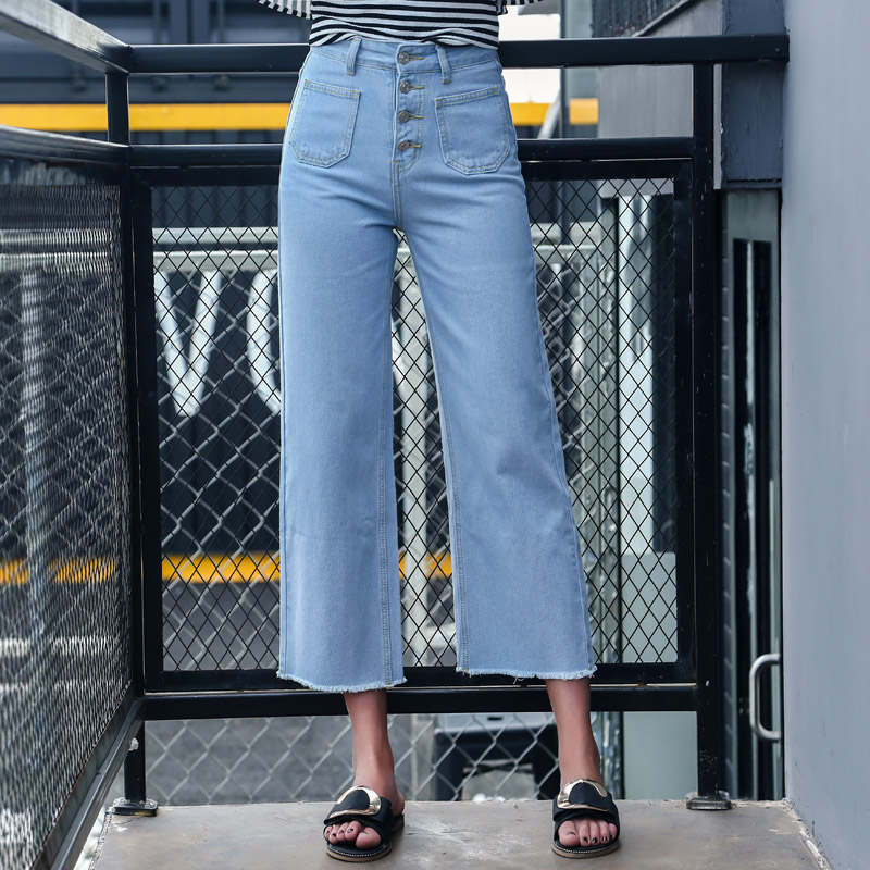 韓国 ファッション パンツ デニム ジーパン ボトムス 夏 春 カジュアル PTX8534  ハイライズ カットオフ ワイド ストレート クロップド アンクルパン オルチャン シンプル 定番 セレカジの写真10枚目