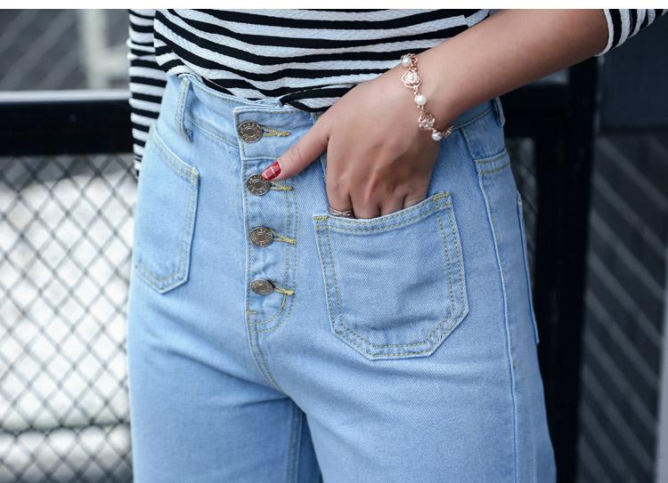 韓国 ファッション パンツ デニム ジーパン ボトムス 夏 春 カジュアル PTX8534  ハイライズ カットオフ ワイド ストレート クロップド アンクルパン オルチャン シンプル 定番 セレカジの写真12枚目