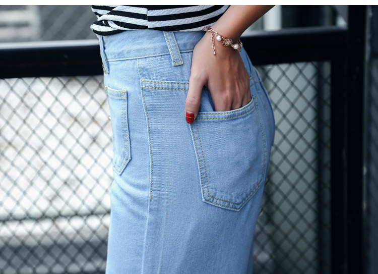 韓国 ファッション パンツ デニム ジーパン ボトムス 夏 春 カジュアル PTX8534  ハイライズ カットオフ ワイド ストレート クロップド アンクルパン オルチャン シンプル 定番 セレカジの写真13枚目