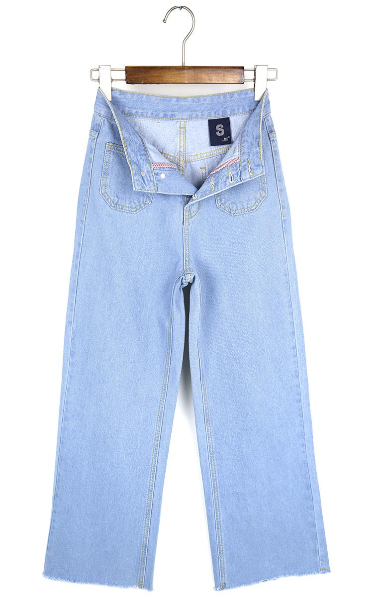 韓国 ファッション パンツ デニム ジーパン ボトムス 夏 春 カジュアル PTX8534  ハイライズ カットオフ ワイド ストレート クロップド アンクルパン オルチャン シンプル 定番 セレカジの写真17枚目